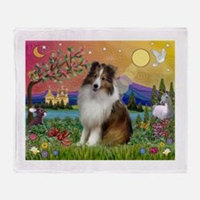 Sheltie in Fantasy Land Throw Blanket
