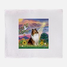 Cloud Angel Sheltie Throw Blanket