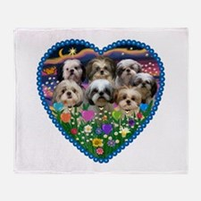 Shih Tzus in Heart Garden Throw Blanket