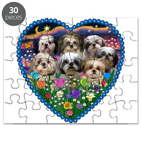 Shih Tzus in Heart Garden Puzzle