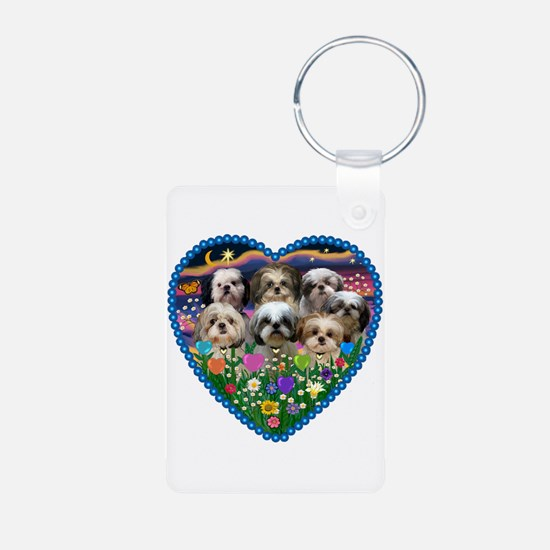 Shih Tzus in Heart Garden Aluminum Photo Keychain