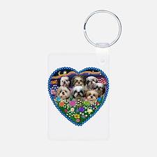 Shih Tzus in Heart Garden Keychains