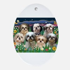 7 Shih Tzus in Moonlight Ornament (Oval)