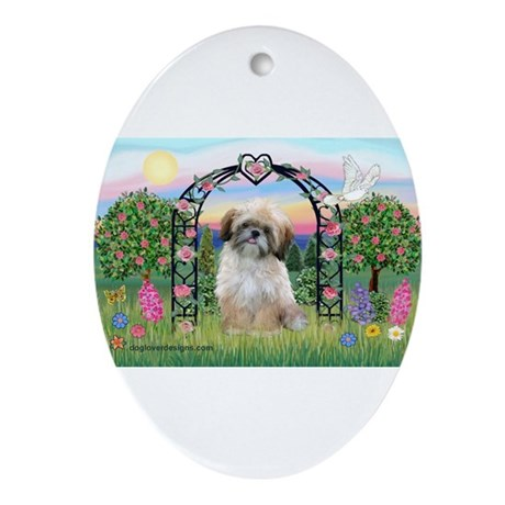 Rose Arbor Shih Tzu Ornament (Oval)