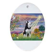 Cloud Angel & Siberian Husky Ornament (Oval)