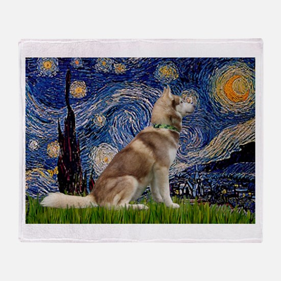 Starry Night & Husky Throw Blanket