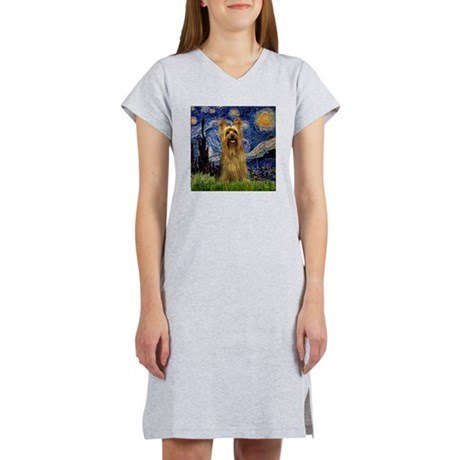Starry Night Silky Terrier (B Women's Nightshirt