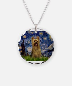 Starry Night Silky Terrier (B Necklace Circle Char