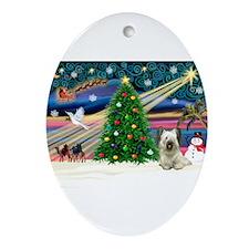 Xmas Magic / Skye Terrier Ornament (Oval)