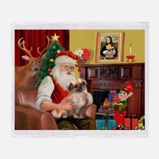 Santa's Tibetan Spaniel #4 Throw Blanket