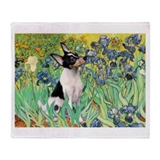 Irises & Toy Fox Terrier Throw Blanket