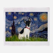 Starry Night & Toy Fox Terrie Throw Blanket