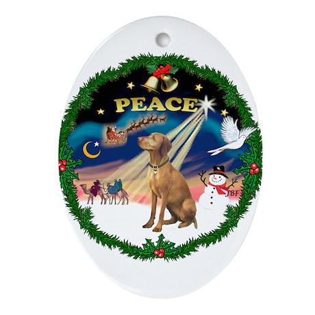 XmasSunrise/Vizsla Ornament (Oval)