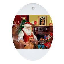 Santa's Vizsla Ornament (Oval)