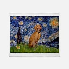 Starry Night & Vizsla Throw Blanket