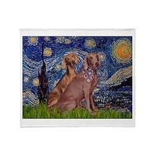 Starry Night Weimaraners Throw Blanket