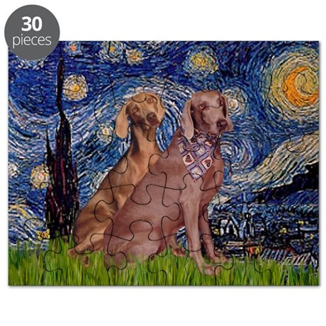 Starry Night Weimaraners Puzzle