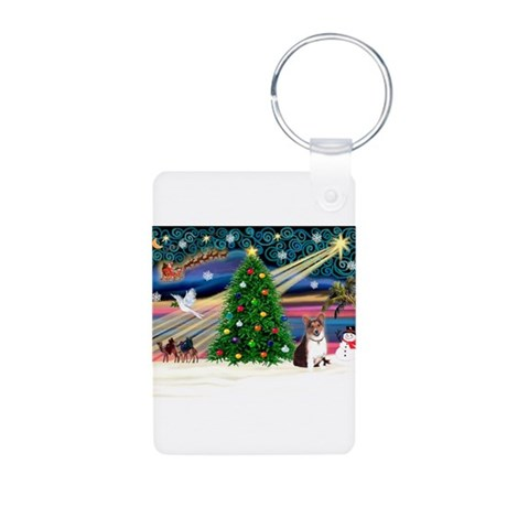Xmas Magic & Corgi Aluminum Photo Keychain