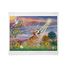 Cloud Angel & Corgi (Pem) Throw Blanket