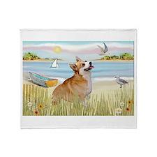 Rowboat & Corgi (Pem) Throw Blanket