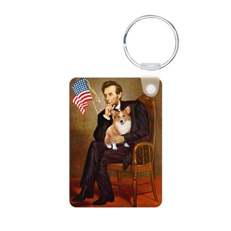 Lincoln & his Corgi (Pem) Aluminum Photo Keych