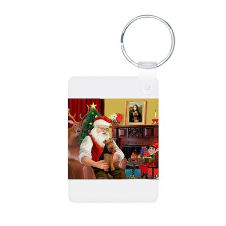 Santa's Welsh Terrier Aluminum Photo Keychain