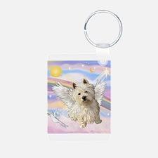 Westie Angel in Clouds Keychains