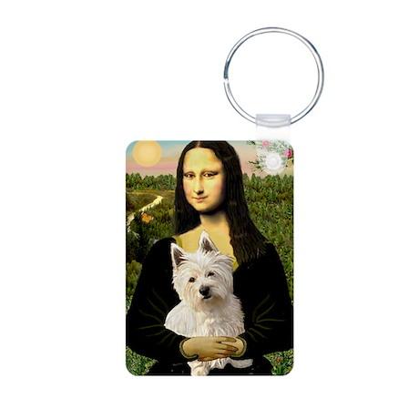 Mona and her Westie Aluminum Photo Keychain