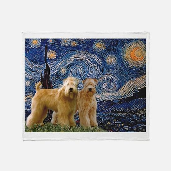 Starry Night & 2 Wheatens Throw Blanket