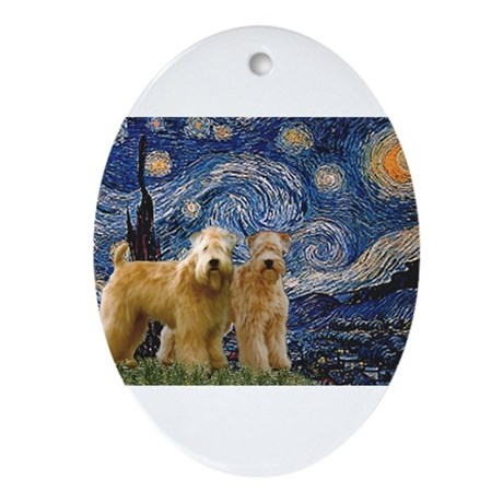 Starry Night & 2 Wheatens Ornament (Oval)