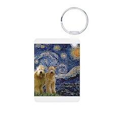 Starry Night & 2 Wheatens Keychains