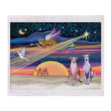 Xmas Star/2 Whippets Throw Blanket