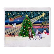 Xmas Magic/2 Whippets Throw Blanket