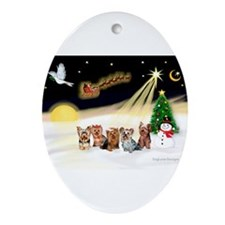 Night Flight/5 Yorkies Ornament (Oval)