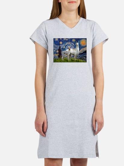 Starry Night Llama Duo Women's Nightshirt