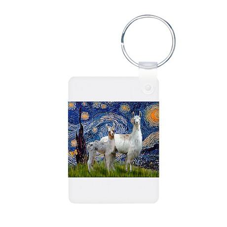 Starry Night Llama Duo Aluminum Photo Keychain