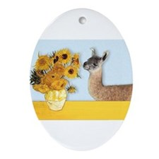 Sunflowers & Llama Ornament (Oval)