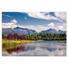View over Westchester Lagoon and the Chugach Mount Canvas Art