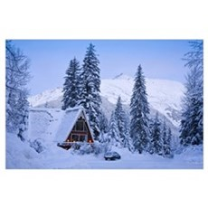 Scenic winter view of an A frame home with the Chu Poster