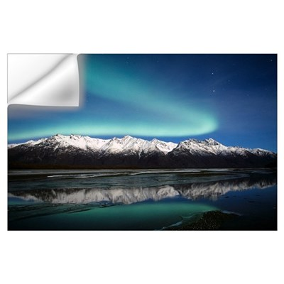 Northern Lights Over Chugach Mts Knik River Southc Wall Decal