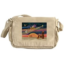 Xmas Star/2 Airedales Messenger Bag