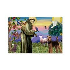 Saint Francis & Airedale Rectangle Magnet (10 pack