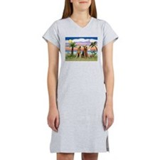 Palm Trees - 2 Airedales Women's Nightshirt