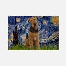 Starry Night Airedale (1) Rectangle Magnet (10 pac