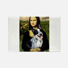 Mona Lisa/Cattle Dog Rectangle Magnet (10 pack)