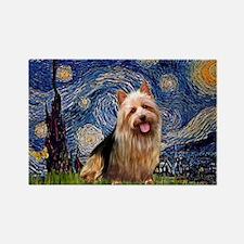 Starry Night Aussie Terrier Rectangle Magnet (10 p