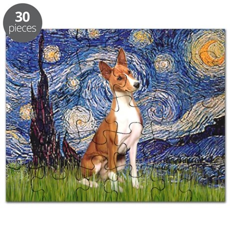 Starry Night & Basenji Puzzle