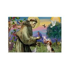Saint Francis / Beagle Rectangle Magnet (10 pack)