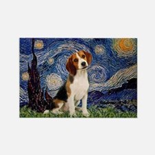 Starry Night & Beagle Pup Rectangle Magnet (10