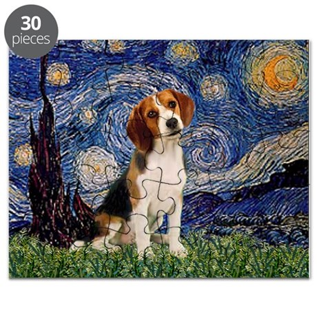 Starry Night & Beagle Pup Puzzle